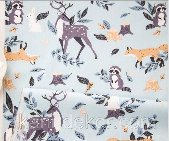 Сатин (хлопковая ткань) олени, лисички, зайцы на голубом