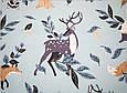 Сатин (хлопковая ткань) олени, лисички, зайцы на голубом, фото 2