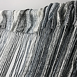 Шторы кисея с люрексов  Нитяные шторы  Графит-серо-белые, фото 4