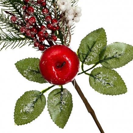"""Ветка """"Ель с яблоками и ягодами в снегу"""", фото 2"""
