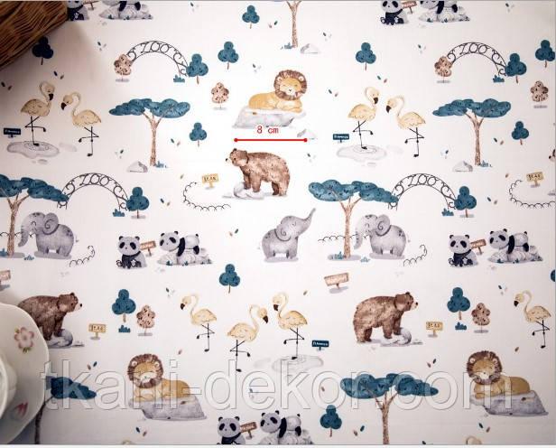 Сатин (хлопковая ткань) звери и птицы в зоопарке