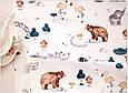 Сатин (хлопковая ткань) звери и птицы в зоопарке, фото 2