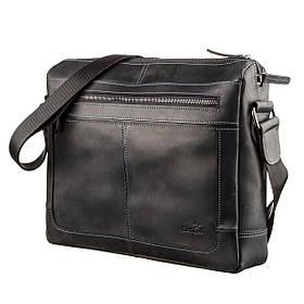 Деловая мужская кожаная сумка на плечо SHVIGEL 11246 Черная