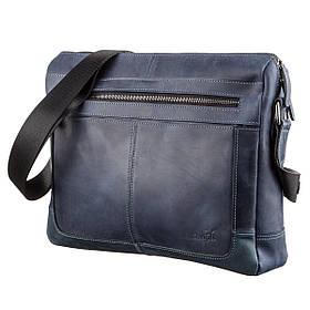 Деловая мужская кожаная сумка на плечо SHVIGEL 11249 Синяя