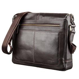 Деловая мужская сумка из гладкой кожи на плечо SHVIGEL 11251 Коричневая