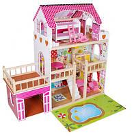 Кукольный домик трехэтажный дом для куклы Барби с подсветкой AVKO Вилла Венеция