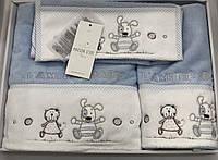 Набор детских полотенец Maison D'or L'amite Blue махровые 30-50 см,50-100 см,70-130 см голубые