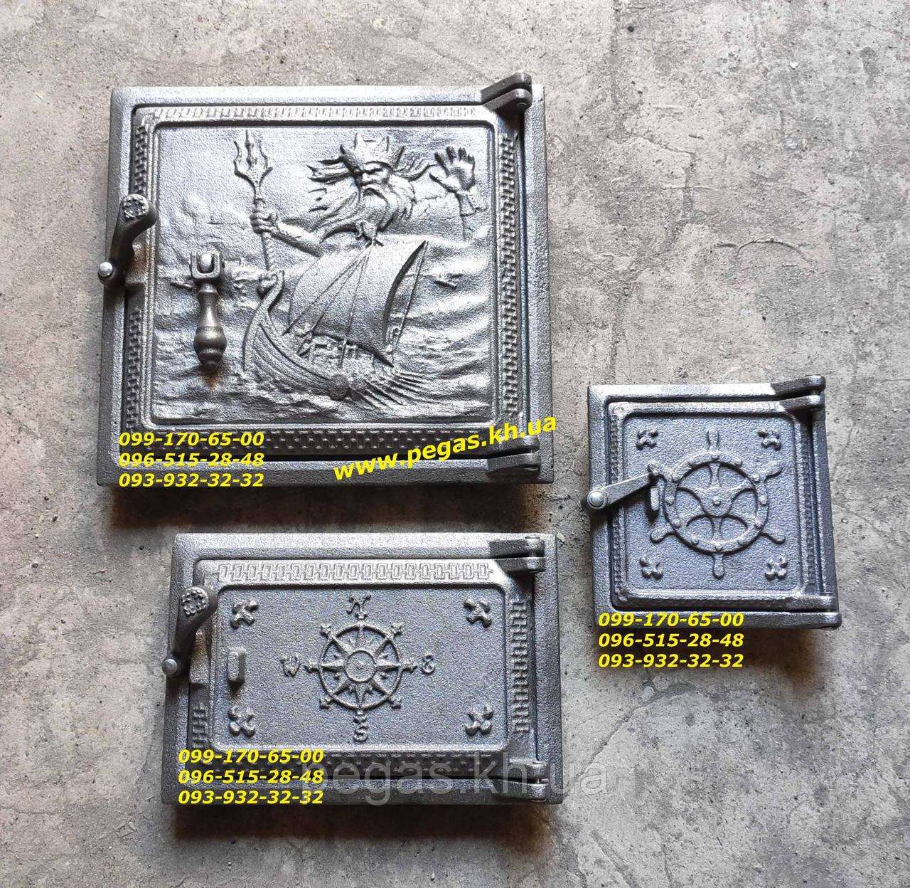 Дверцы чугунные комплект топочная, поддувальная, сажетруска