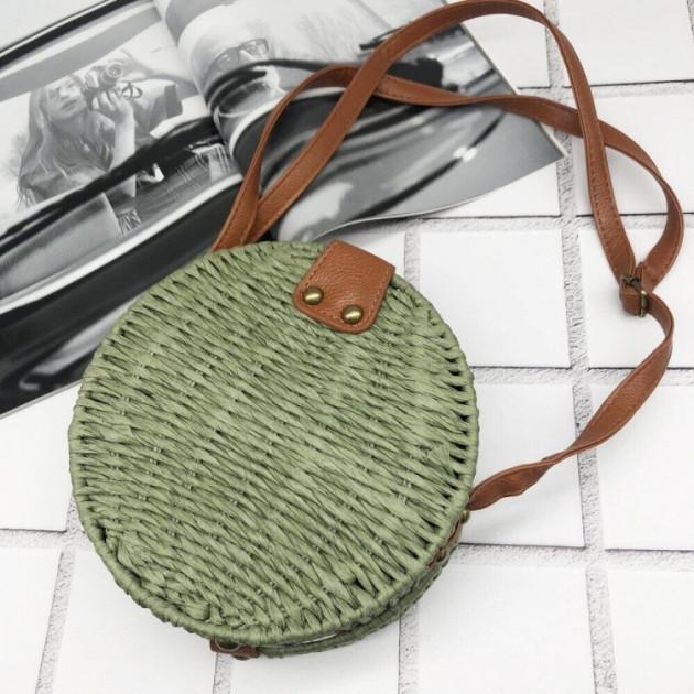 Круглая  плетеная сумка 3 Цвета: зеленыйя