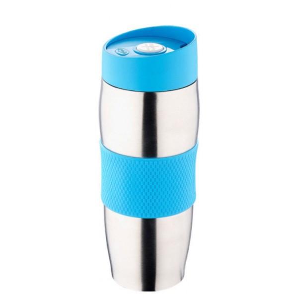 Термокружка металлическая с поилкой Benson BN-40 голубая (380 мл) | термостакан из нержавеющей стали | термочашка