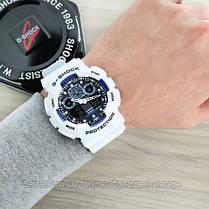 Часы наручные белые Casio G-Shock GA-100 White-Blue-Black/ касио джишок белые с черным, фото 3