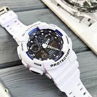 Часы наручные белые Casio G-Shock GA-100 White-Blue-Black/ касио джишок белые с черным
