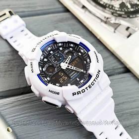 Годинники наручні білі Casio G-Shock GA-100 White-Blue-Black/ касіо джишок білі з чорним