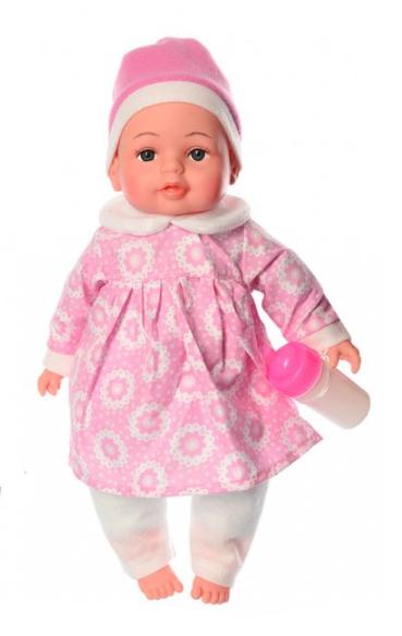 Пупс игрушечный в розовой одежде с бутылочкой M 3887 UA LIMO TOY мягконабивной, музыкально-звуковой   куколка
