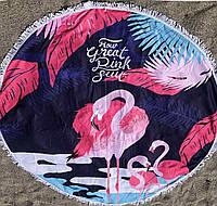 Пляжное покрывало с ярким принтом Фламинго Розовый
