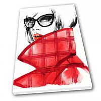 Картина на холсте Kronos Top Мода Девушка в красном 30 х 40 см lfp4749714523040, КОД: 941732