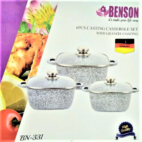 Набор посуды Benson BN-331 (6 предметов) гранитное покрытие | кастрюля с крышкой | кастрюли | посуда Бенсон