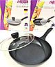 Сковорода с антипригарным мраморным покрытием с крышкой Benson BN-341 (26 см) | сковородка Бенсон, фото 2