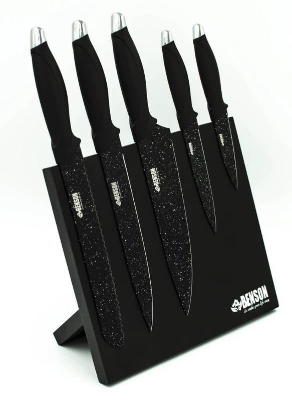 Набор ножей Benson BN-409 из нержавеющей стали на магнитной подставке (5 пр) | кухонный нож | ножи Бенсон