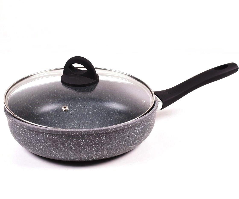 Сковорода Benson BN-492 с антипригарным мраморным покрытием с крышкой (26 см) | сковородка Бенсон