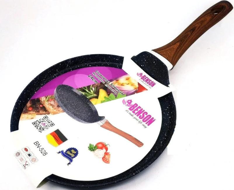 Сковорода блинная Benson BN-528 (24 см) с антипригарным мраморным покрытием   сковородка для блинов Бенсон
