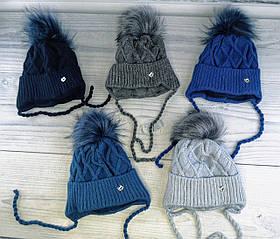 Комплект для хлопчиків Зимова шапка Off White з помпоном + Хомут Мікс Розмір 48-50 2557(48-50) Vertex Україна