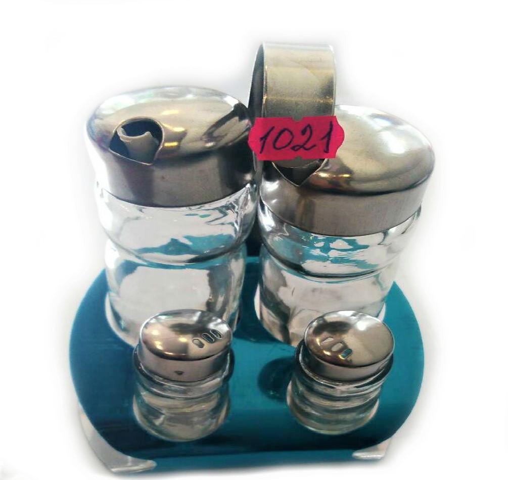 Набор соль/перец Benson BN-1021 | набор для специй на подставке | солонка и перечница Бенсон