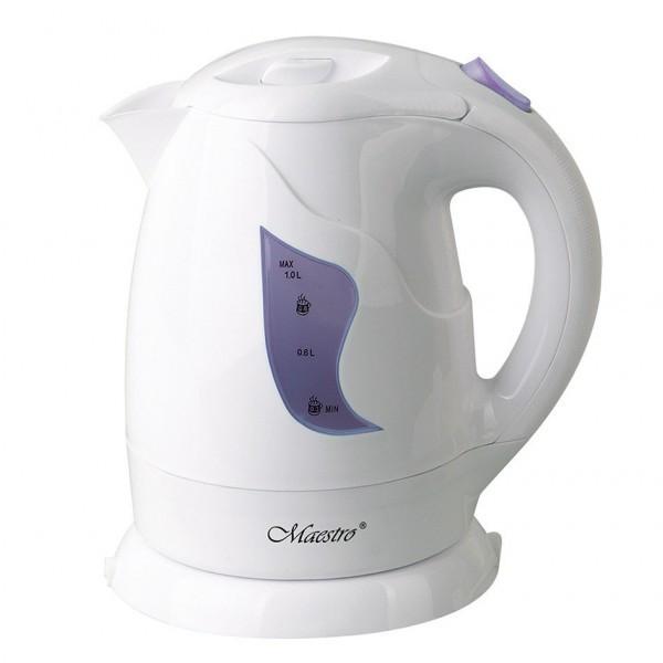 Чайник Maestro MR-011 білий з фіолетовим (1 л, 850 Вт) | електричний чайник Маестро, Маестро