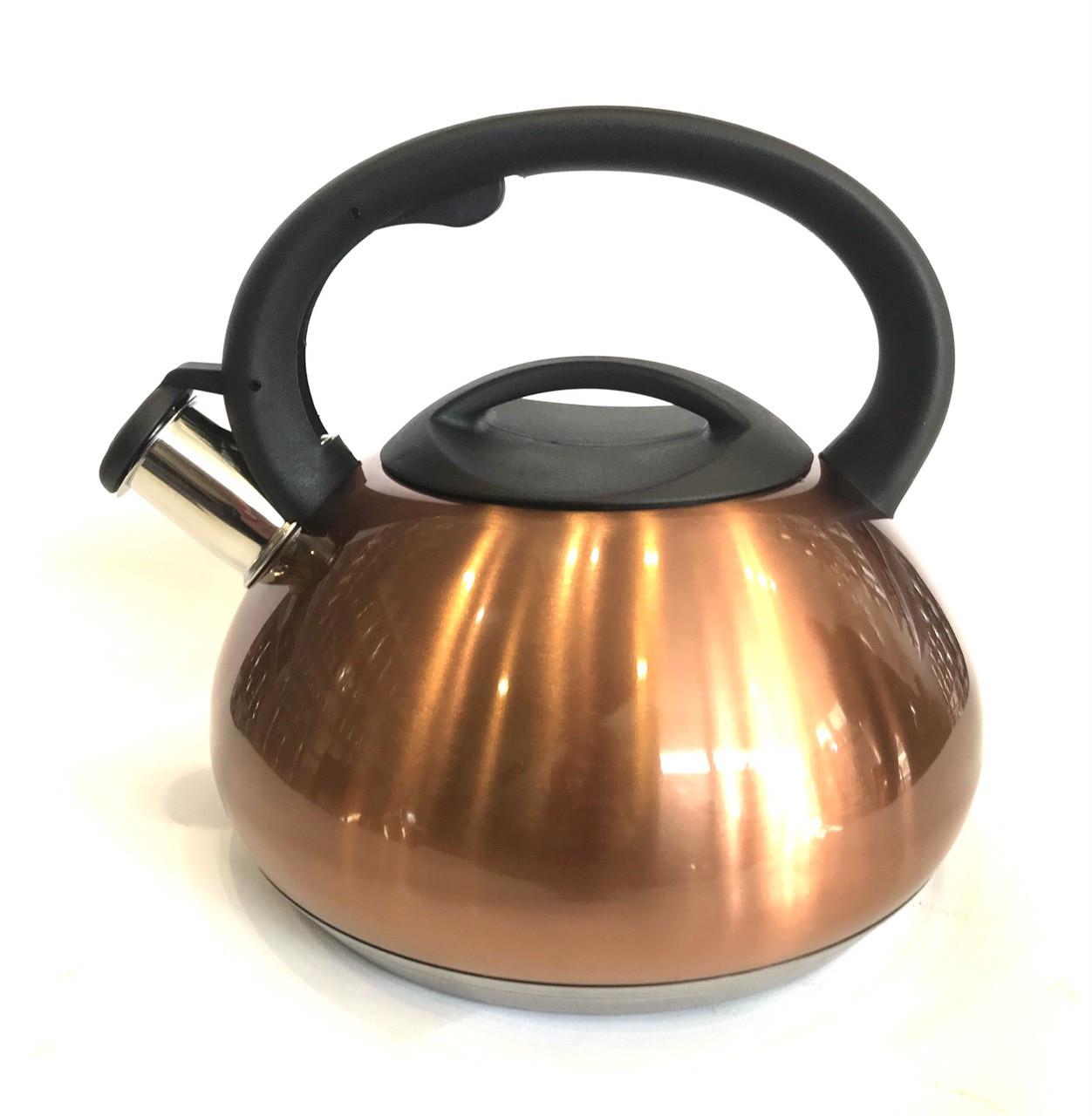 Чайник со свистком Benson BN-713 (3 л) из нержавеющей стали, нейлоновая ручка, дно 7 слоев | чайник Бенсон
