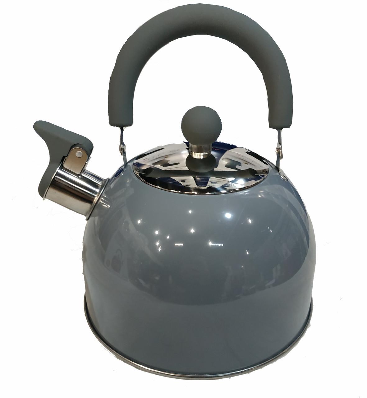 Чайник со свистком Benson BN-718 (2 л) серый из нержавеющей стали, нейлоновая ручка | чайник Бенсон, Бэнсон
