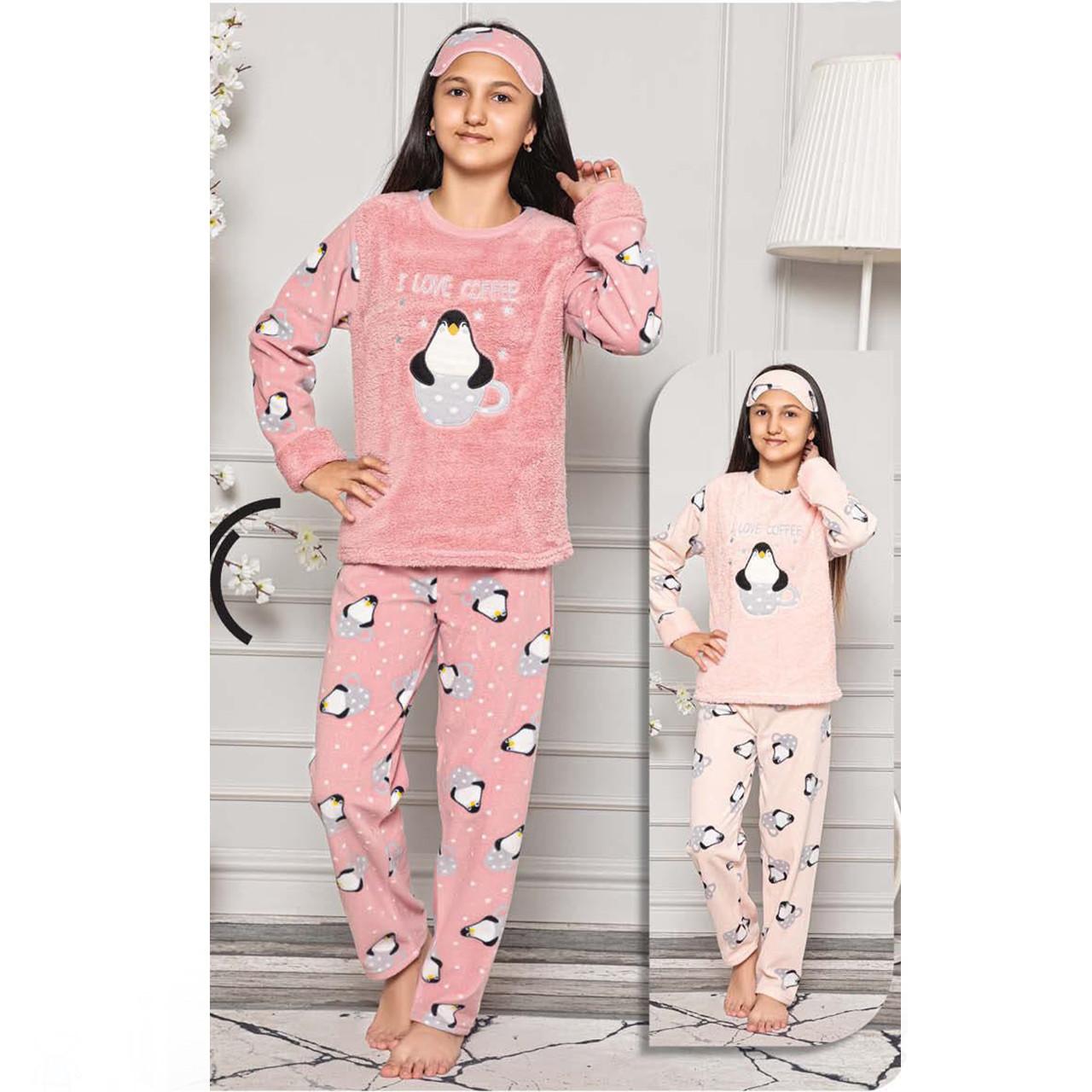 Пижама детская для девочки с повязкой на голову зимняя флисовая Турция 6-14 лет, костюм для дома