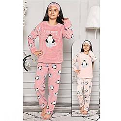 Піжама дитяча для дівчинки з пов'язкою на голову куртку зимова Туреччина 6-14 років, костюм для будинку