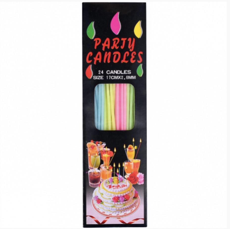 Набор свечей для торта 24 шт.Длинна свечей 17 см.