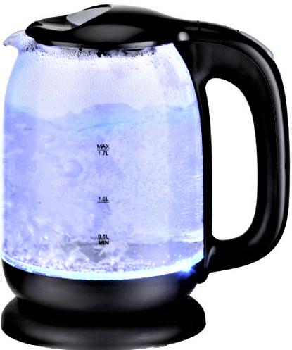 Скляний електрочайник KB-2028 чорний (1.7 л)   електричний чайник   кавоварка з підсвічуванням