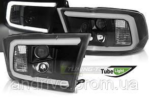 Передні фари Dodge RAM (2009-2018) Чорні з поворотниками TUBE LIGHT (ЦІНА ЗА ПАРУ)