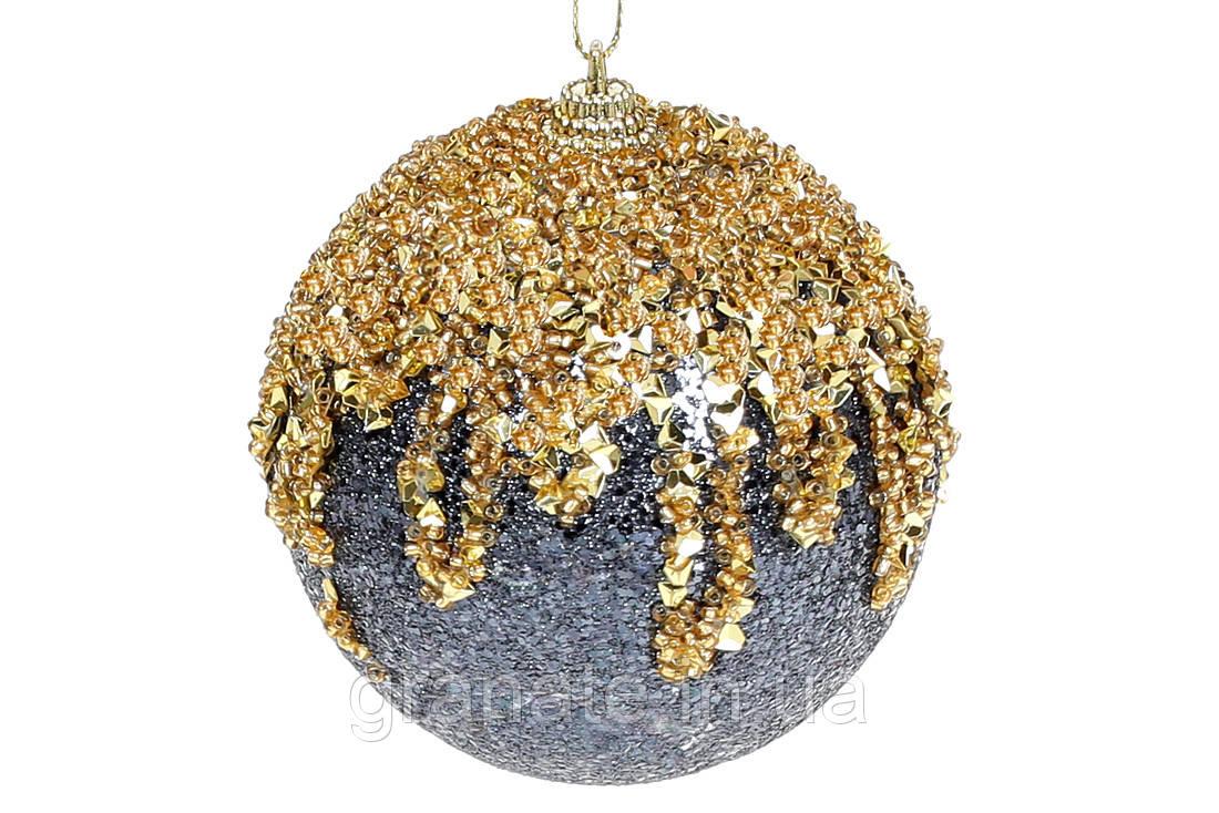 Елочный шар 8 см c золотым декором, цвет - синий с золотом (12шт)