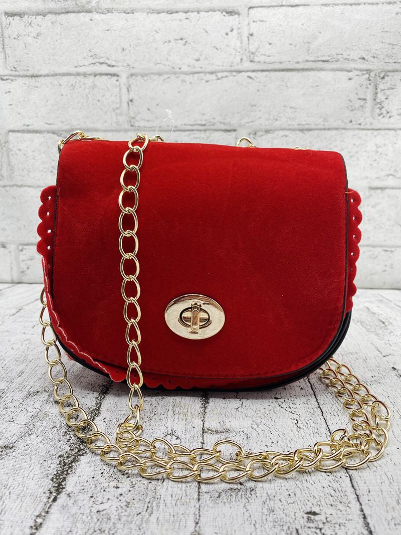 Бархатная сумочка-мини Красная