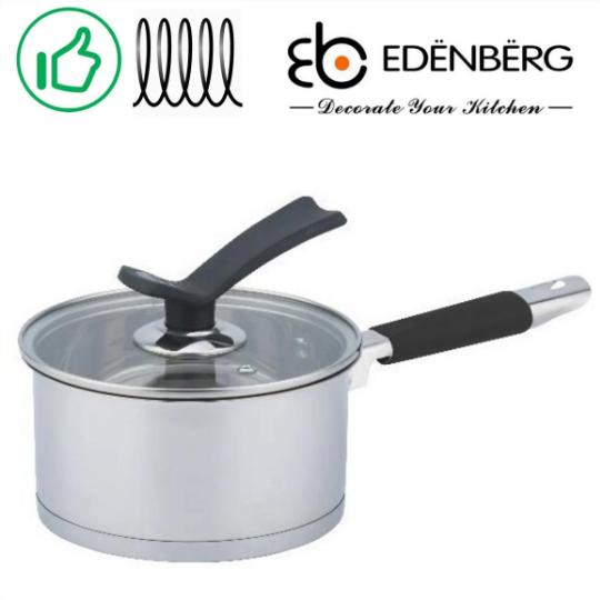 Ковш Edenberg EB-3682 из нержавеющей стали с крышкой 1,3 л | сотейник | ковшик Эденберг