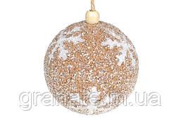 Елочный шар 8 см Снежинка, цвет - карамельный (16шт)