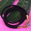 Черный шнурок на шею с серебряной застежкой Милан диам. 3мм, фото 2