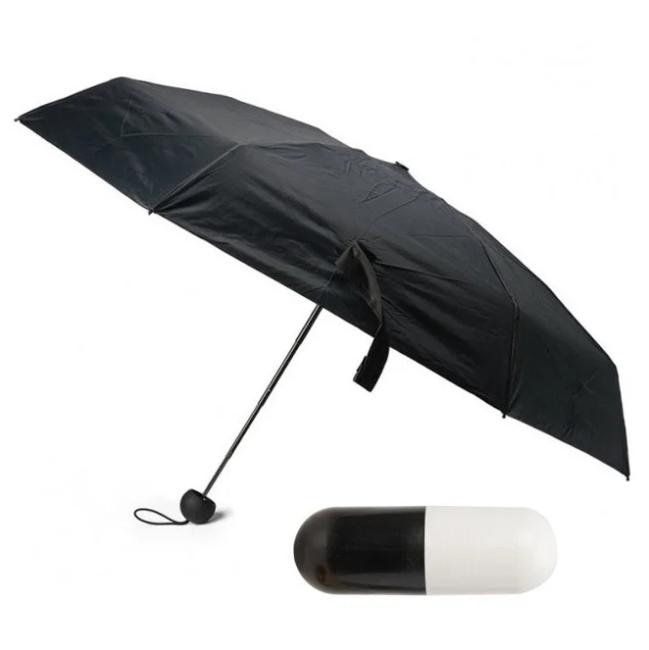 Мини зонт капсула | компактный зонтик в футляре черный | капсульный зонтик | маленький зонтик