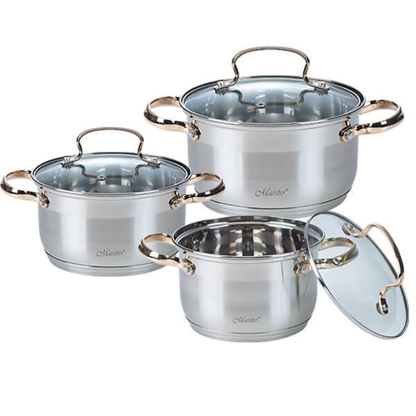 Набор посуды Maestro MR-3516-6M, 6 предметов, нержавеющая сталь | кастрюли с крышками Маэстро, Маестро