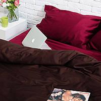 Комплект постельного белья Хлопковые Традиции семейный 200x220 Коричнево-бордовый SE08семья, КОД: 740692