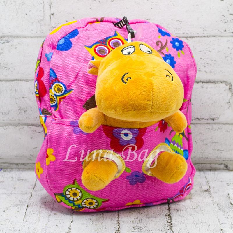 Детский рюкзак с мягкой игрушкой Бегемотик Цвет: Розовый
