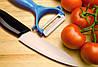 Набор керамический нож и устройство для очистки кожуры PN 15 | овощечистка | нож с нержавеющим лезвием, фото 3