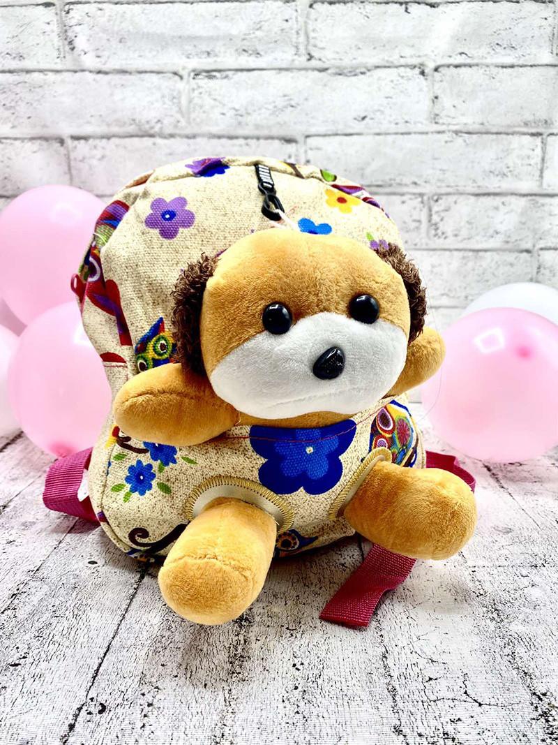 Детский рюкзак с мягкой игрушкой Собачка: Цвет Кремовый