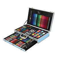 Детский набор для творчества и рисования Artmix в алюминиевом кейсе на 123 предмета Голубой asw07, КОД: