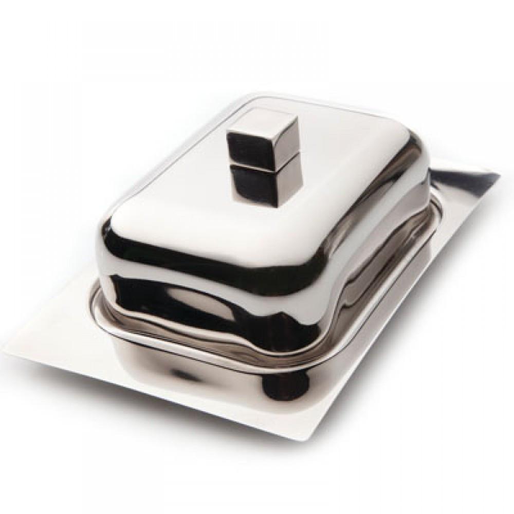 Масленка нержавеющая Berghoff Cubo 1106274 | тарелка с крышкой для масла Бергофф, емкость под масло Бергоф