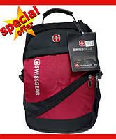 Рюкзак Городской Швейцарский Wenger SwissGear 8810 с USB и AUX кабелем + дождевик міський рюкзак Красный