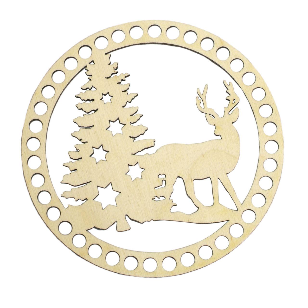 Донышко Ажурное Круглое Ø 15 см (Ø отверстие 8 мм) Новогодняя сказка.